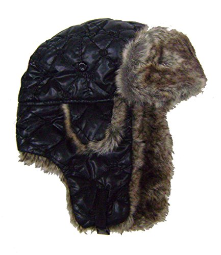 modestone-quilted-warm-trapper-bomber-hat-brown-faux-fur-trim-o-s-black