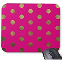 Gold Polka Dots on Bright Pink Mouse Pad Inspirational Quote Design Pattern Print Desktop Office Mousepad Bible Verse Quotes Rectangle Mouse Pads Nature Unique Mouse Pads