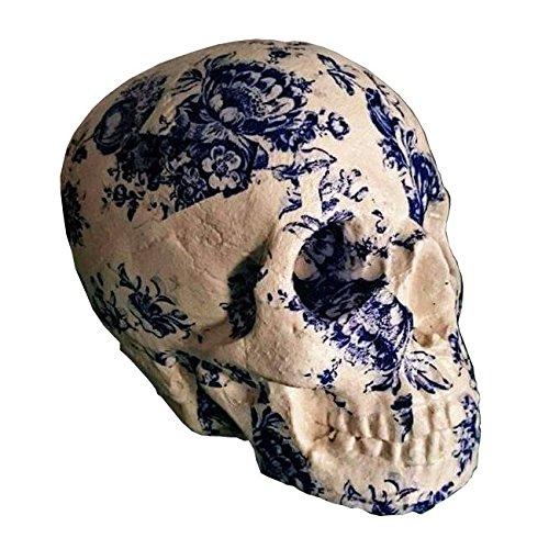 Calavera decorativa - Cráneo tamaño real - Azul y blanca