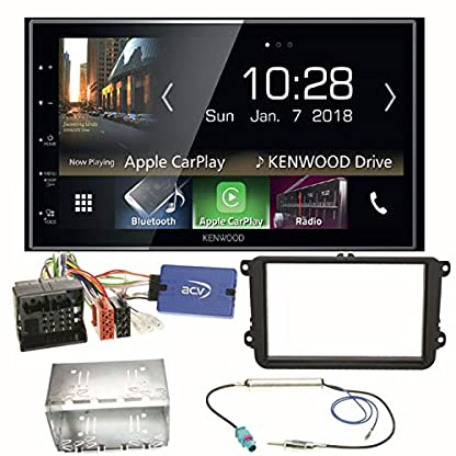 Kenwood-DMX-7018BTS-CarPlay-Android-Auto-Bluetooth-Autoradio-Moniceiver-Touchscreen-USB-MP3-Einbauset-fr-Golf-5-6-Passat-3C-B7-Touran
