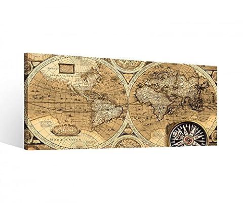 Leinwand 1 Tlg Welt Weltkarte Map alt Karte Erde Bilder Globus Wandbild 9B814Holz - fertig gerahmt - direkt vom Hersteller, 1 Tlg