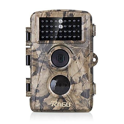 Trail Camera, RAGU Low Glow Waterproof Infrared Wildlife Camera Game Camera 12MP 720P Deer Camera with 20m Detection Range, 20m Night Vision and 34pcs Black 850nm IR LEDs (1 Year