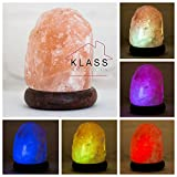 Klass Home Collection -Lámpara de sal de roca del Himalaya, roca natural, led, multicolor, lámpara USB, piedra natural