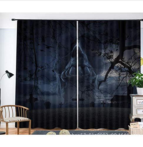 svorhänge, Halloween Horror Muster 3D-Fenster Vorhänge, Wohnzimmer Hotel Schlafzimmer Schmücken Vorhänge (2 Panels Set) ()