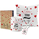 LOF Valentine Day Gift, I Love You Forever Quote Romantic Couple Gift Set , For Valentine Girlfriend,For Valentine Wife,For Valentine Husband, For Valentine Boyfriend Cushion Cover, Mug, Greeting Card Full Printed A4 Size, With Keychain007
