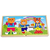 Wooden Bear Dress Up Jigsaw Toy, Sorting and Matching, Bear Changing Clothes Puzzle Toy Set for Kids(Three bear)
