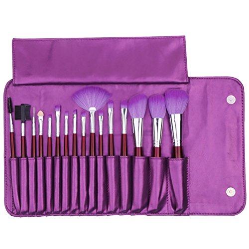 Maquillage Brosse, 16 Pcs/Set Purple Poignée Fondation Brosse Mélange Poudre Ombre à Paupières Contour Concealer Beauté Cosmétique Pinceau Jouet Outil Kit