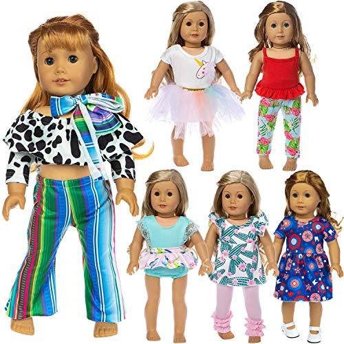 ZITA ELEMENT 6 Sets 18 Zoll Puppenkleidung und Accessoires Freizeitkleidung Outfits für amerikanische 18 Zoll Mädchen Puppe