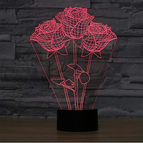 Kreative geschenk tischlampe bunte LED 3D nachtlampe nachttischlampe atmosphäre lampe für freundin geburtstagsgeschenk, Rosen (261 * 185 * 87mm) - 261 Rose