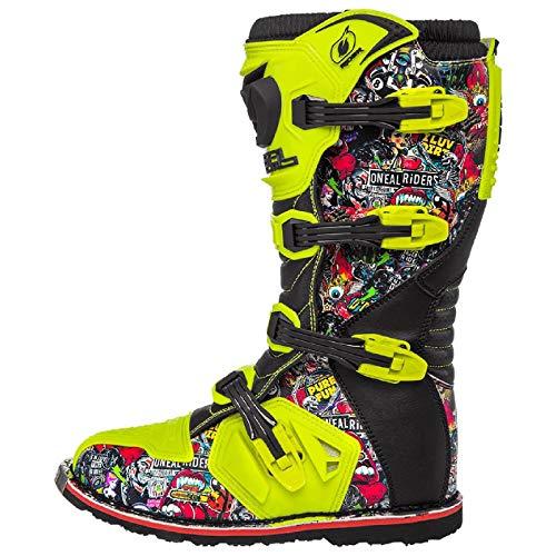 O'Neal Rider Boot Crank MX Cross Stiefel Neon Gelb Pin It Motorrad Enduro Motocross Offroad, 0329-0, Größe 44 - 2