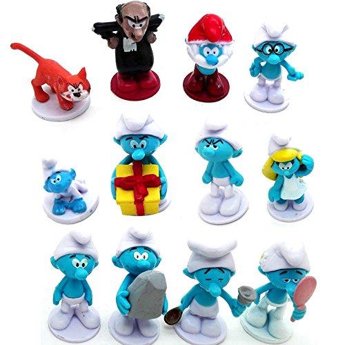 ONOGAL Los Pitufos Lote Colección de 12 figuras de Los Pitufos personajes de plastico diferentes con Gargamel y Azrael 4673