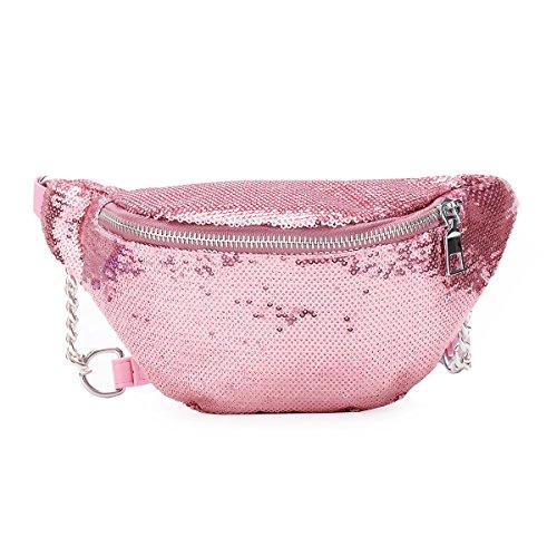 Soogut Hüfttasche Outdoor Reise Bauchtasche Damen glänzend Travel Umhängetaschen Gürteltasche (Pink)