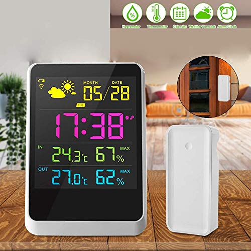 HXUJ Wetterstation Indoor Outdoor Digitaler Wecker Kalender Funk-Prognosesensor Thermometer Hygrometer