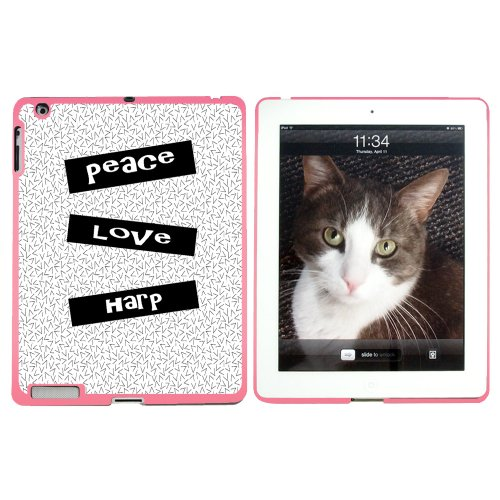 Peace Love Harfe – Snap on Hard Schutzhülle für Apple iPad 2 3 4 – Pink