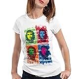 style3 Che Guevara Pop Damen T-Shirt Kuba Revolution, Farbe:Weiß;Größe:S