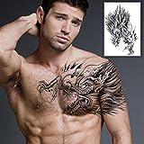 GREEN HOME 1 1 STÜCK Temporäre Tattoos Kreative Mode Tattoo Aufkleber Wasserdichte Männer Hatten Tattoo Totem Durch Die Schulter Drachen Tattoo Aufkleber Männer Tattoos 24X18 cm (schwarz)