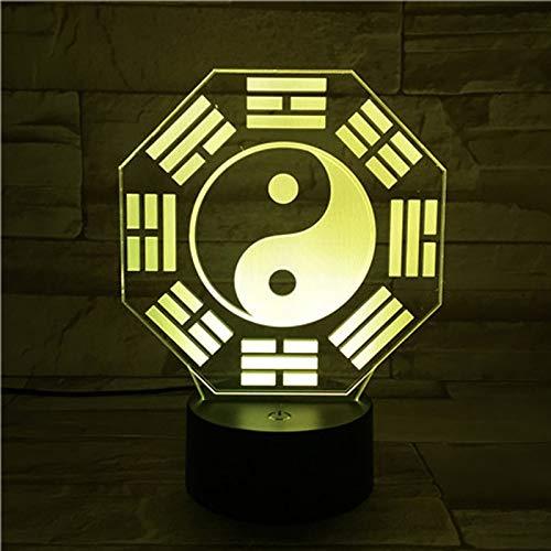 Creative Gossip Taiji Karte 3d Nacht Light Visuelle Lampe Bunte Us-tischlampe Acryl Atmosphäre Lampe Fernbedienung bunt