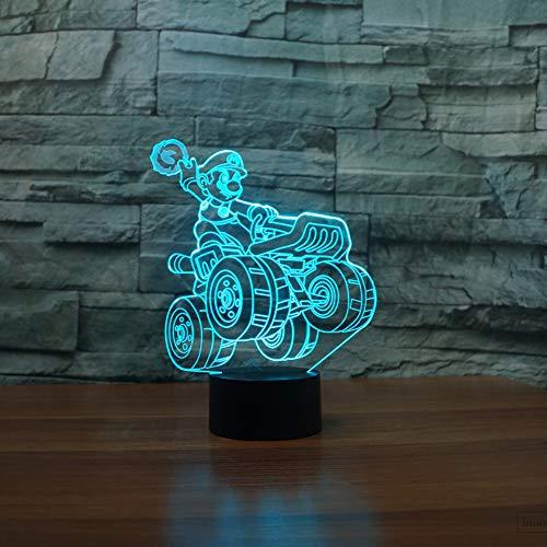 Kjfgkf @ 3D Nachtlicht Led 3D 7 Farbwechsel Langlauf-Motorrad Nachtlicht Nacht Cartoon Schreibtischlampe Hausbeleuchtung Kinder Geschenke