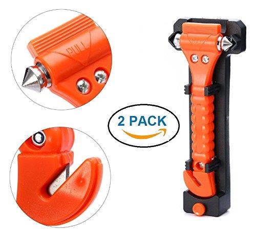 REALMAX® 2Stück 2in 1Notfall Hammer Auto Glas Fenster Breaker Sicherheit Rescue mit Gurtschneider Lebensrettung Escape Survival Kit Werkzeug (rot)