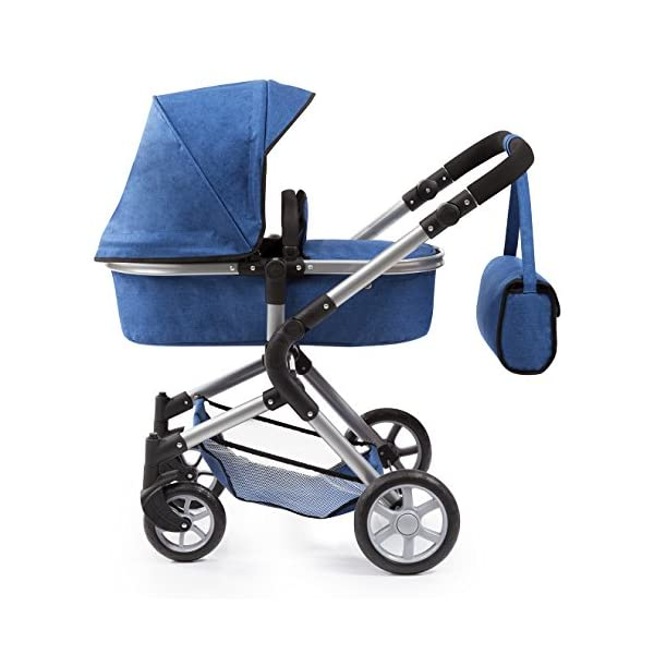 Bayer Design 18135AA City Neo Doll's Pram with Bag and Underneath Shopping Basket, Blue Bayer Design dimension: 82 x 38.5 x 79 cm suitable for dolls up to 52 cm adjustable handle height: 59 - 79 cm 2