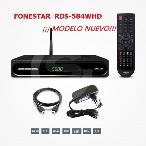 FONESTAR RDS-584WHD - Receptor Satélite HD (Full HD, WiFi, Ethernet), Color...