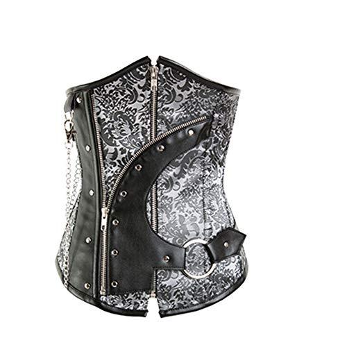 Gothic Bustier Damen Vintage Spiral Stahl Leder Gürtel Brokat Steam Punk Floral Korsett Satin Ohne Reißverschluss (Color : Gray, Size : S) ()