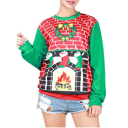 Cfanny - Sweat-shirt - Femme Taille Unique Fireplace Christmas Stockings