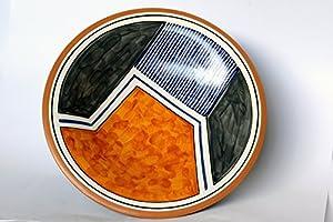 Piatto in ceramica da tavola finemente decorato con motivi geometrici Collezione Random