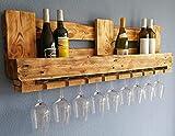 Vintage WEINREGAL PALETTE Wandregal aus Holz RUSTIKAL Flaschenregal Altholz Wandregal Hängeregal Geschenk Holzregal Wein Bar Gläser Industrial Design