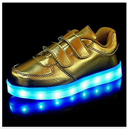 Leuchtet Handtuch Mdchen Sneakers Gold Sportschuhe kleines Jungen Led Kinder present junglest® Bunte Athletische 5f8q7wXW