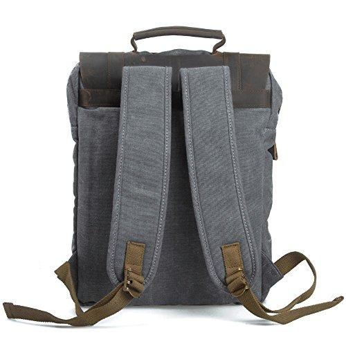 Canvas Rucksack, P.KU.VDSL 15″ Laptoprucksack Vintage Canvas und Leder Schultasche Reisetasche Daypacks Uni Backpack für Outdoor Sports Freizeit (Grau, Laptoprucksack) - 3