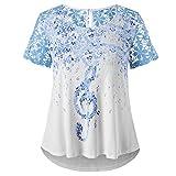 BURFLY Elegant Bluse Damen, Mode Damen Plus Size Music Notation Blumendruck Spitze Kurzarm Lose T-Shirt Tops (3XL, Weiß)