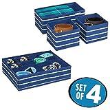 mDesign 4er-Set Aufbewahrungsbox aus Polypropylen – Ordnung im Kleiderschrank und Schublade mit insgesamt 13 Fächern – Wäschebox auch für Accessoires und Schmuck in Schlafzimmer und Bad – blau/weiß