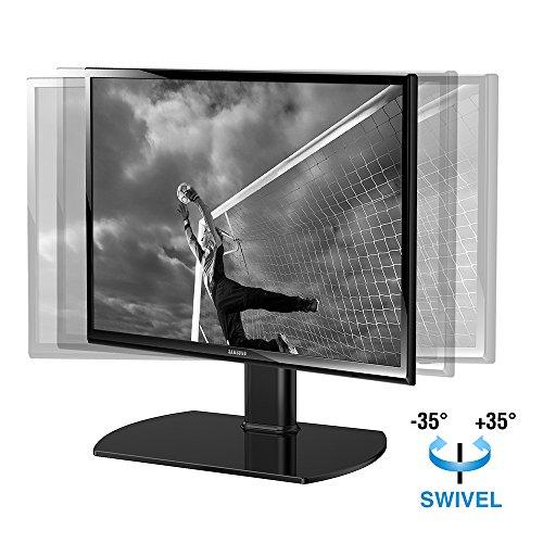 Fitueyes Universal TV Ständer Fernsehtisch Standfuss Glas für 20 bis 37 Zoll LCD LED höhenverstellbar 35Grad schwenkbar schwarz TT104001GB