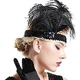 BABEYOND 1920s Stirnband Feder Flapper Stirnband Roaring 20er Showgirl Haarband Gatsby Stil Accessoires Damen Retro Stirnband