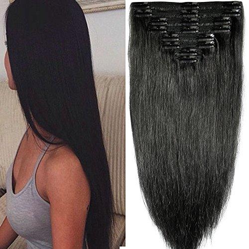 40cm-55cm Clip in Extensions Set 100% Remy Echthaar 8 Teilig 130g-160g Haarverlängerung dick Dopplet Tressen Clip-In Hair Extension ( 55cm-160g,#1B naturschwarz)