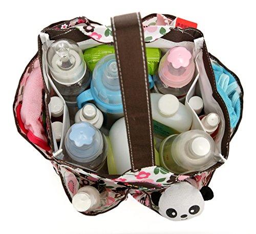 mengma Wasserdicht Nylon Druck Windel Handtasche Still Baby Tasche Mütter Sortieren Tasche Reißverschluss 4Farben braun