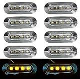10 x 24 V Ambre Orange côté avant Contour Marqueur LED verres transparents avec façade Chromé pour camion LKW Châssis Caravane Remorque