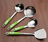 Aoligei Acciaio strumento di cucina in acciaio set cucina casalinga pala fritto Cucina 4 Set