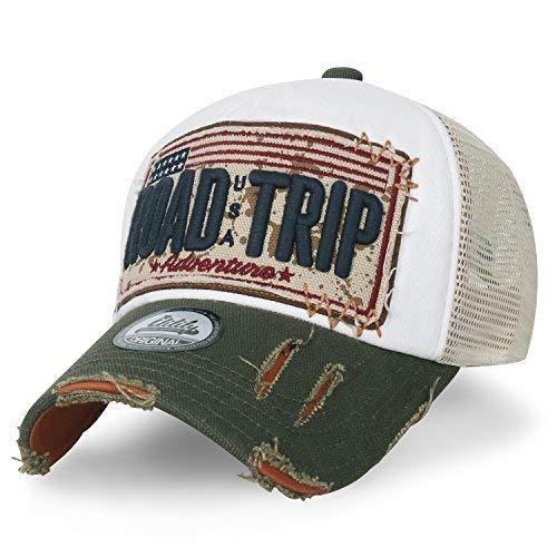 ililily Strasse Trip klassischer Stil abgenutztes Aussehen Snapback Trucker Cap Hut Baseball Cap (Medium, White)