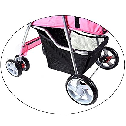Beshomethings Dog Puppy Cat Pet Travel Stroller Pushchair Pram Jogger Buggy Carrier With 4 Wheels (Pink) 4