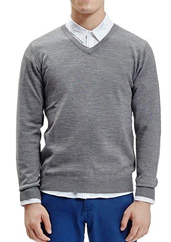 Flying Rabbit Herren Pullover Herren Sweatshirt V-Ausschnitt Langarm Strick Pullover Lose Casual Oversized Top Bluse Sweatshirt (Large, Grau)