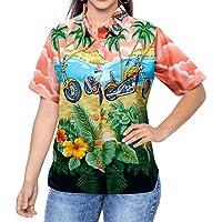 Pulsante beachwear gi� coprire signore superiori della camicetta colletto della camicia hawaiana a maniche corte