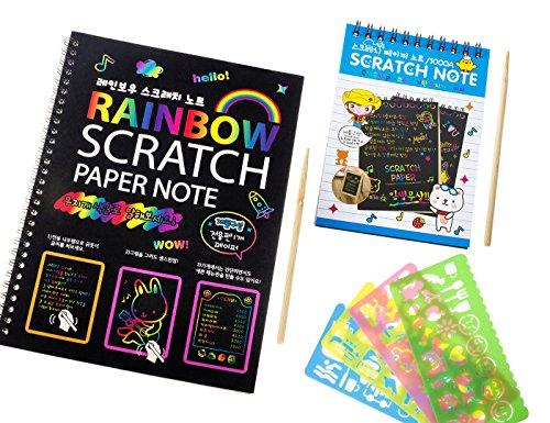 rt Bücher, Mega Wert 20Blatt fantasievollen Kratzpapier mit 2PCS Holz Stylus und 4andere Form der Lineale (Rainbow Scratch Paper)