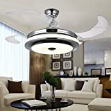 #2: Kanz Enterprises Modern Imported Ceiling Fan with Retractable Blades/Invisible Blades with LED Light & Remote Control, LikeChandelier Lamp_012