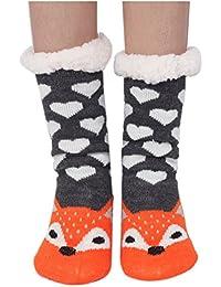 Houda Womens Warm Soft Cute Cartoon Animals fuzzy Cozy Non-Slip Winter Indoor Slipper Socks;One Size