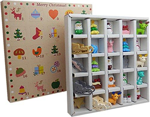 Adventskalender für 2017 mit 25Weihnachts-Radiergummis von Iwako(Limited Edition)–Einige Farben und Designs sind exklusiv nur in diesem Adventskalender vorhanden (Alle Iwako Radiergummis)