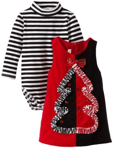 Bonnie Jean Gorgeous schwarz & rot CORD Weihnachtsbaum Latzschürze Kleid 12–18–24Monate, X10737-JL Bonnie Jean Kleid 14
