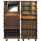 ProPassione Stateroom Koffer-Bar aufklappbar, mit Rollen, Antikdesign, Elfenbein, Messingbeschläge, H 147 x B 62 x T 59 cm