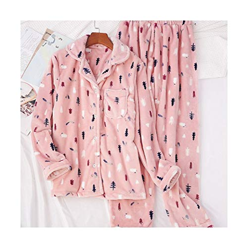Flanell Frauen Pyjama Winter Warm Pijamas Langarm Pyjama Sets Weihnachten Süße Schlafanzüge Sets Frauen Nachtwäsche Pink XL ()
